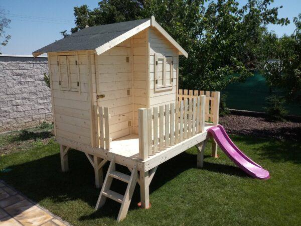detský domček, detský drevený domček, drevený domček, domček so šmýkačkou